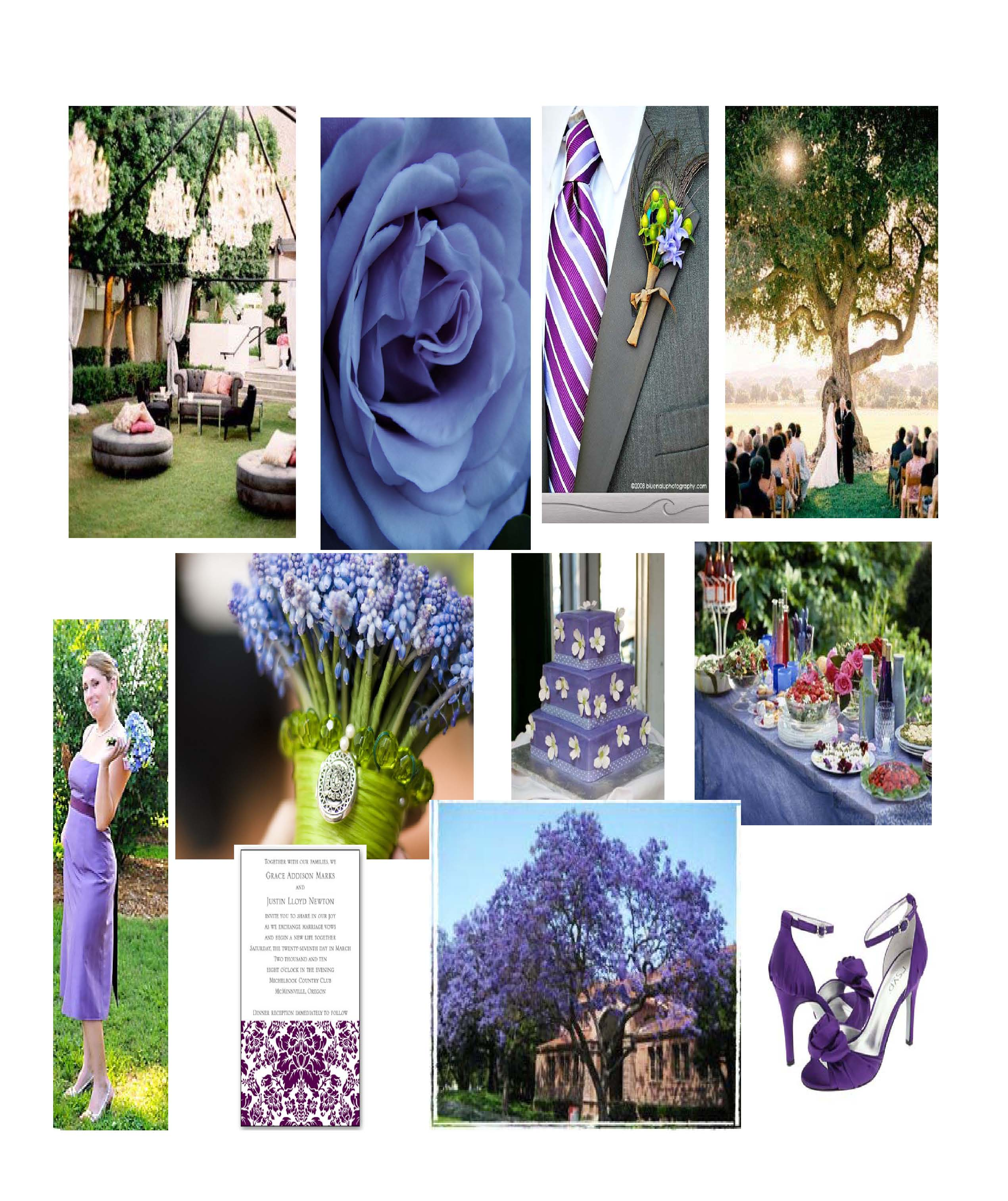 Blue Purple Garden Wedding Inspiration Board